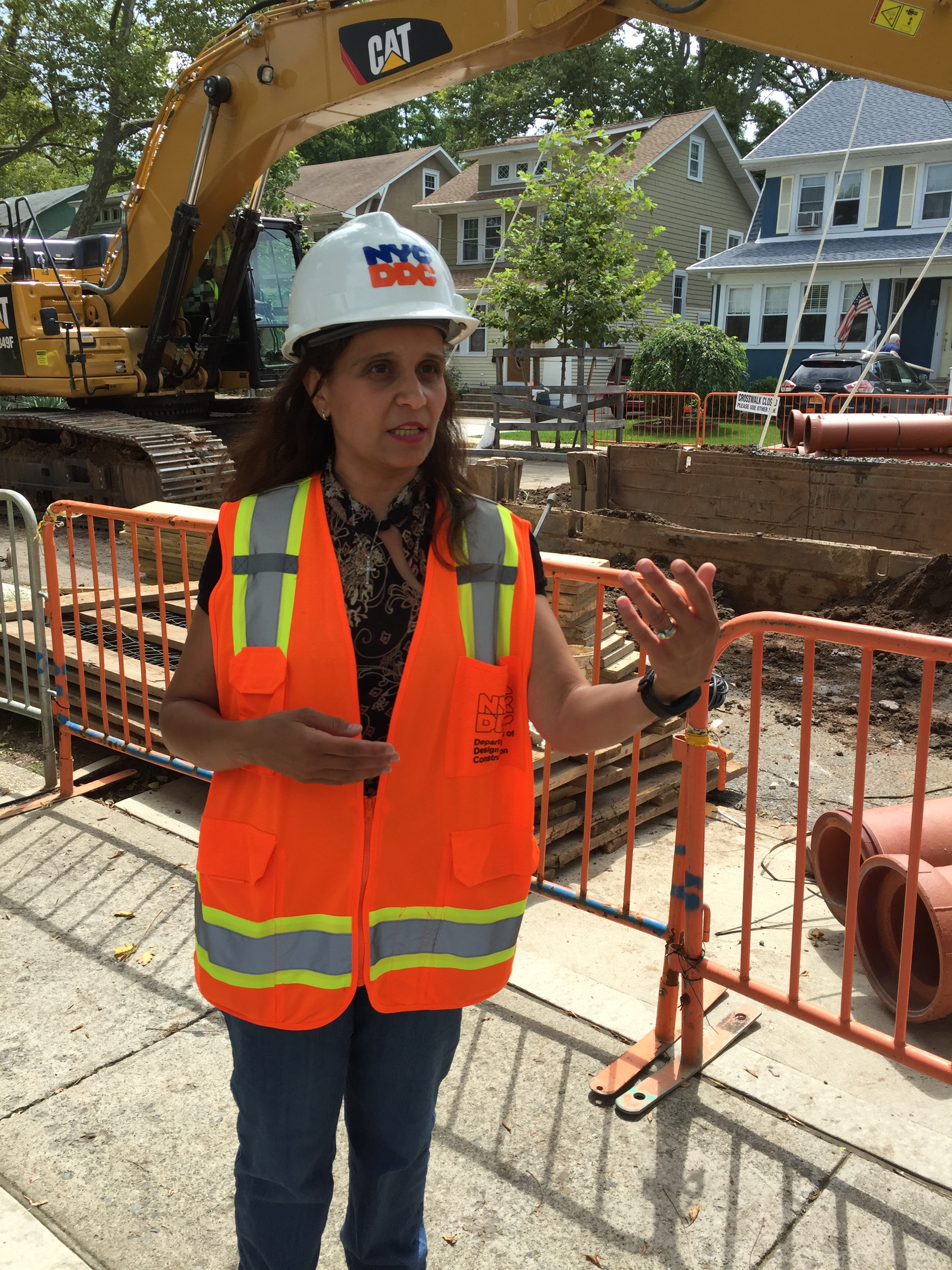 DDC Resident Engineer Carolina Habashy at the work site on Harvest Avenue
