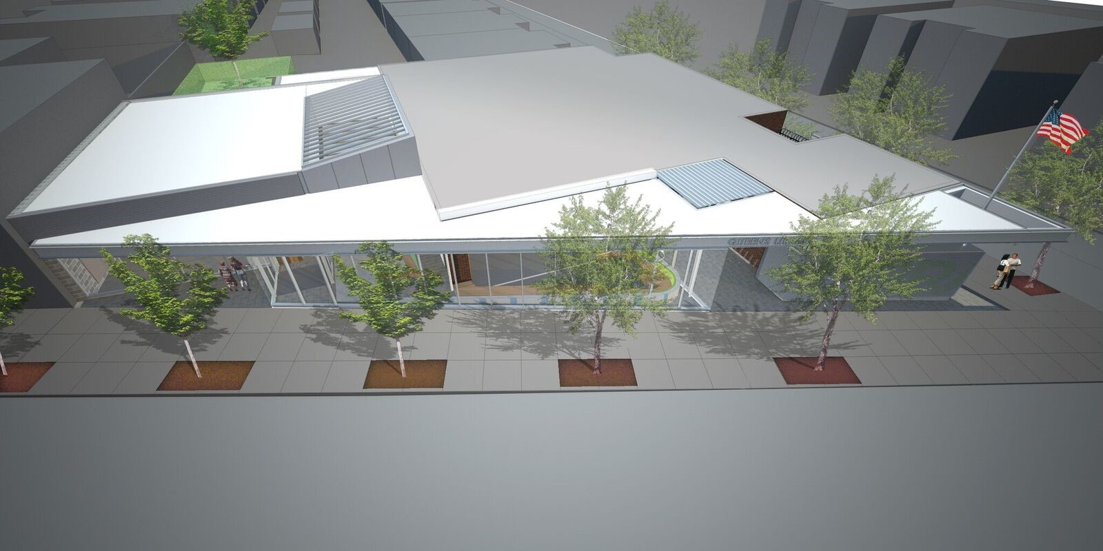 An artist's rendering of the future expanded and renovated East Elmhurst Community Library