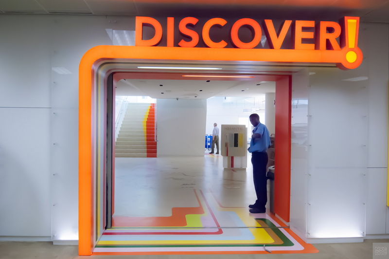 The entrance to the Children's Discover Library. A sign overheard says Discovery.