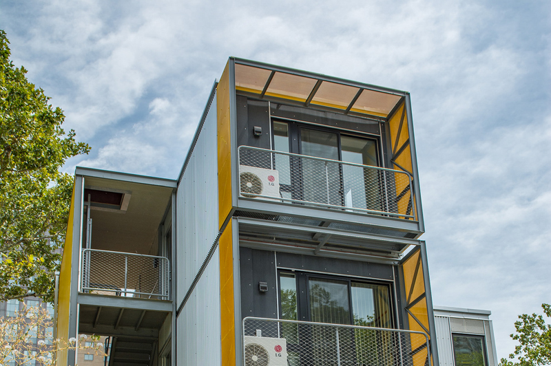 An exterior view of the top two floors of the Urban Post-Disaster Housing Prototype