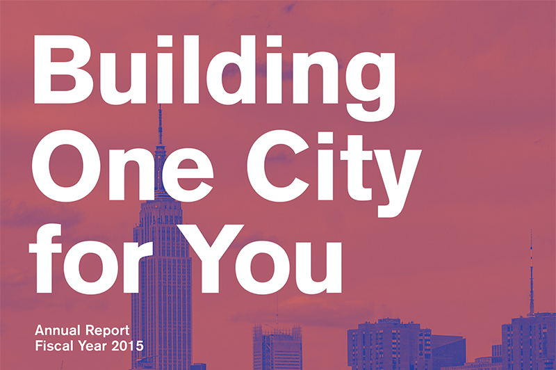 Cover of one of DDC's annual reports. It says building one city for you with the NYC skyline in the background.