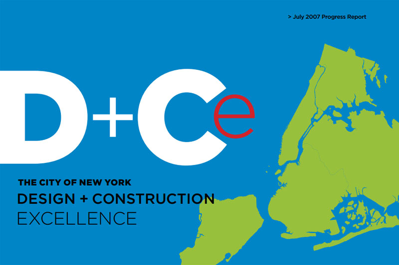 Cover for the 2007 Design and Cosntruction Excellence Progress Report. An illustration of the five boroughs.