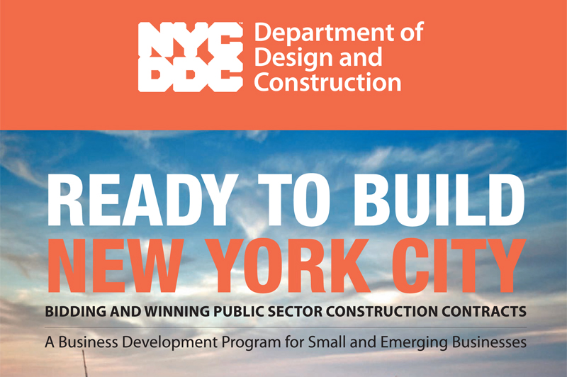 Cover of the Ready to Build New York City brochure. The title rests on a background of the NYC skyline.