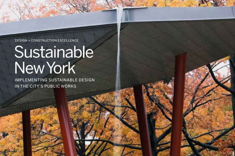 Cover for Sustainable New York. People are outside admiring the Queens Botanical Garden.