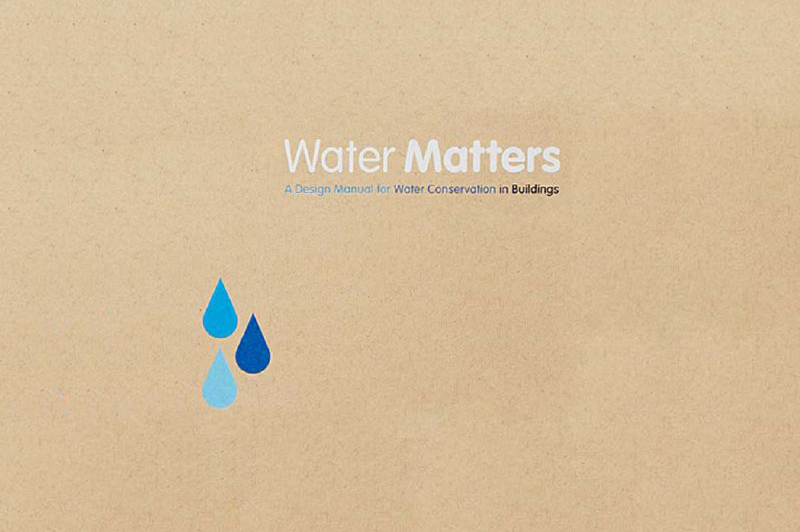 Cover for Water Matters. An illustration of three water drops on a brown background.