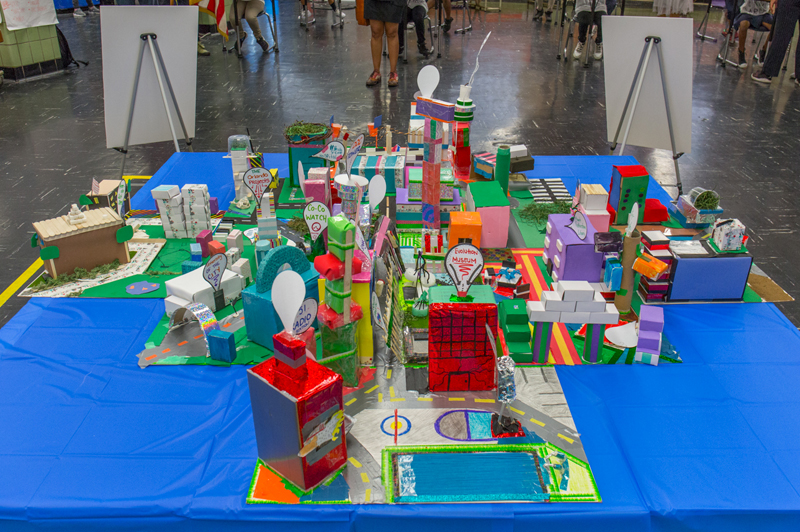 A colorful, paper model city, built by Bronx middle school students.