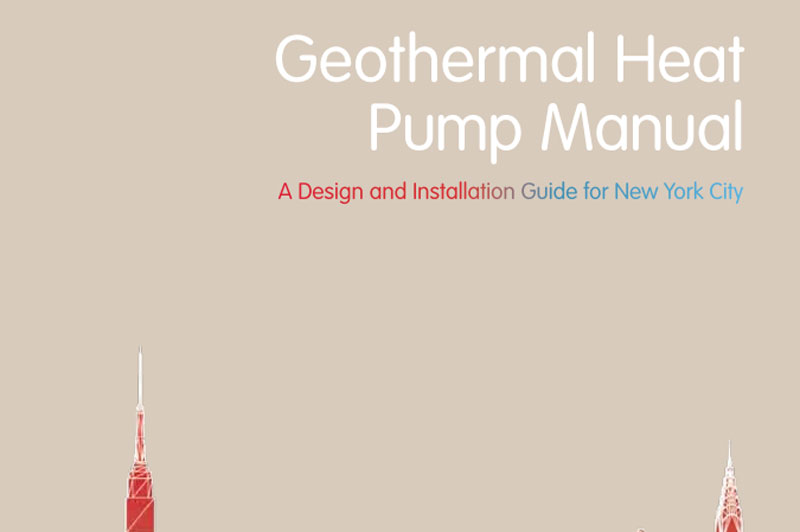 Cover for the Geothermal Heat Pump Manual. An illustration of the New York City skyline.