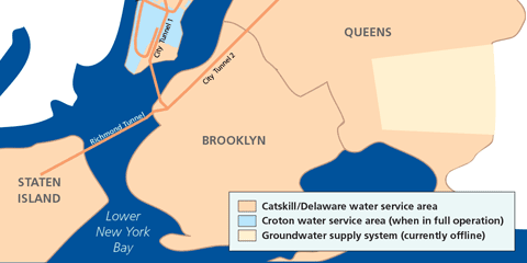 New York City water tunnels and distribution areas map