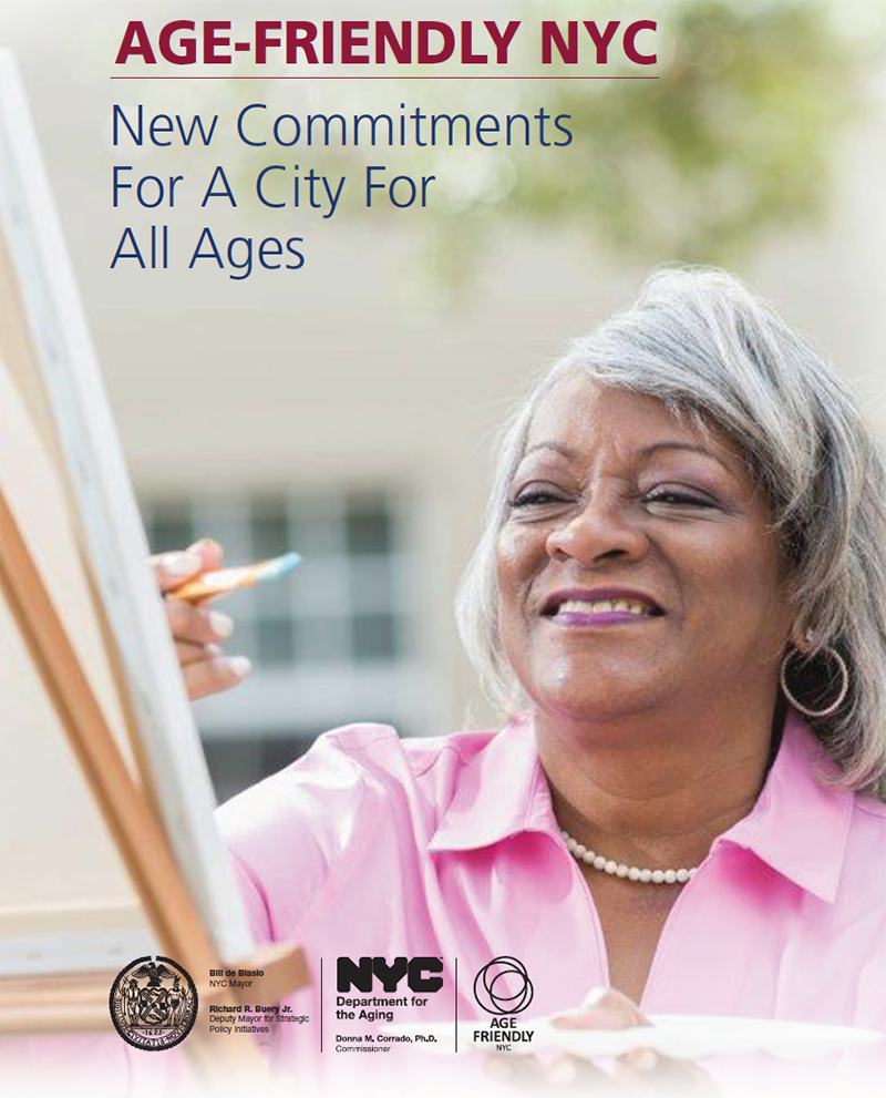 Poster for Age Friendly NYC featuring an older adult painting