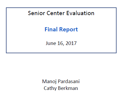 Report Cover of Senior Center Study