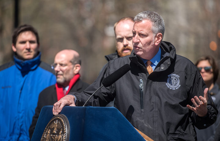 Mayor Bill de Blasio speaks at Press Conference