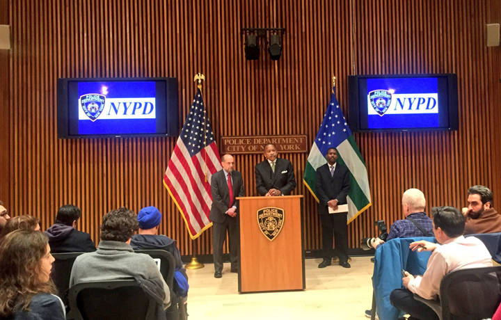 The New York City Police Department join the Department of Homeless Services to discuss new shelter security measures