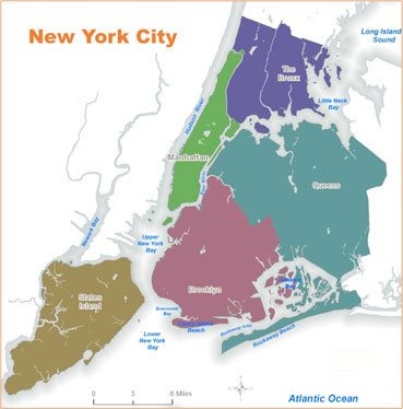 NYC map of districts