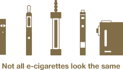 Image of different types of e-cigarettes. Text reads: Not all e-cigarettes look the same.