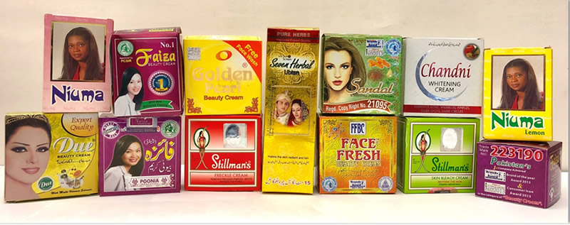skin-lightening creams and medicated soaps