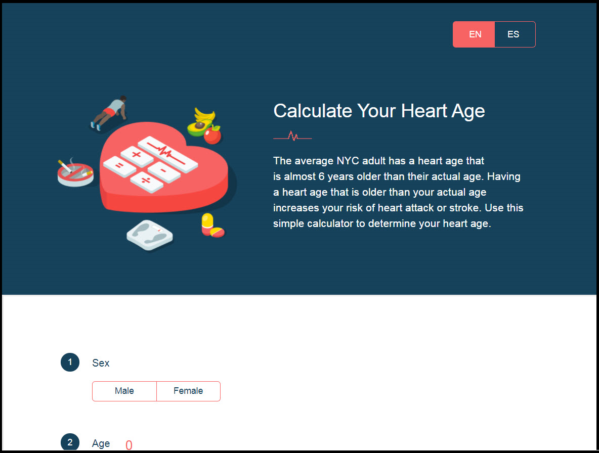 Heart Age Calculator application screen shot