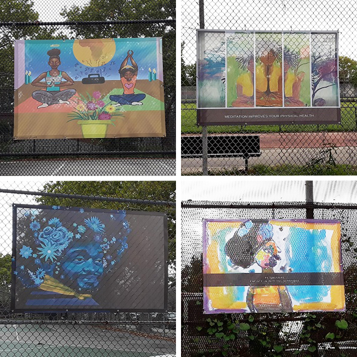 Four photos capture some of the art presented at Betsey Head Park. One of the photos depicts two women sitting on yoga mats and practicing yoga poses and stretches. Two photos feature abstract portraits. One photo depicts a man with flowers around his head
