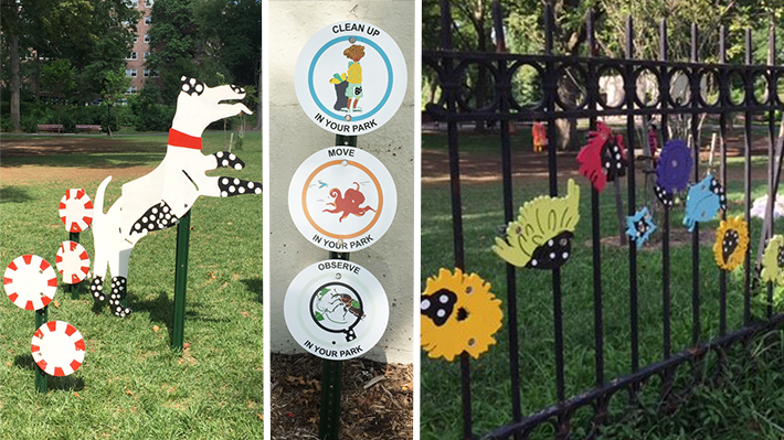 Three photos capture the art presented at Captain Tilly Park in Queens. One photo depicts a dog standing on his hind legs. Another photo features three signs. Text reads, 'Clean up in your park, 'Move in your park, 'Observe in your park'. The last photo depicts an installation of colorful flowers hung on a fence in the park