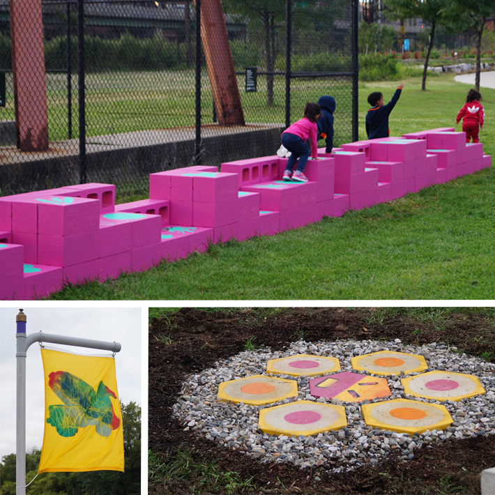 Three photos showcase artwork in Concrete Plant Park in the South Bronx. One photo depicts a tile installation in pink, orange and yellow colors. Another photo depicts young children climbing a bright pink communal bench. Another photo showcases a bright yellow flag that hangs in the park