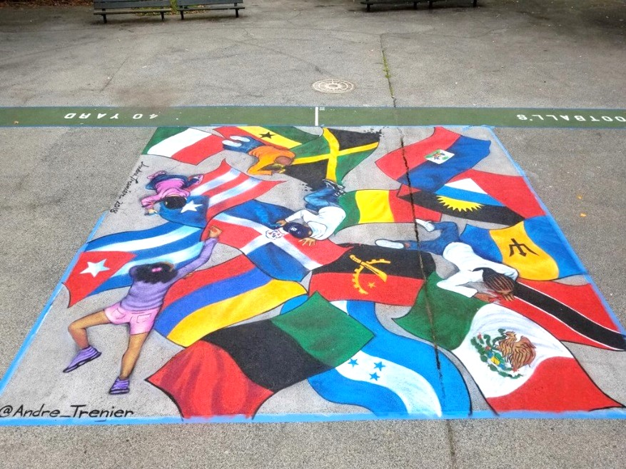 A mural in Inwood Park depicts 17 flags of local immigrant communities