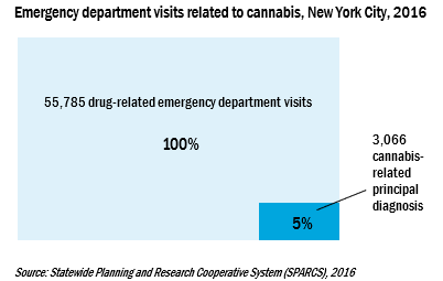 Chart of emergency department visits related to cannabis in New York City in 2016