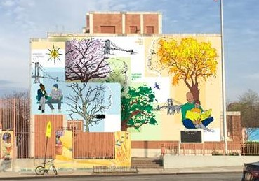 A mural of a people and trees in Sunset Park