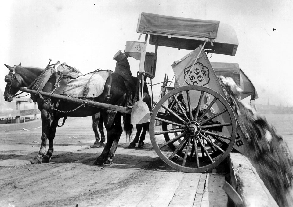 DSNY archival photo: Department of Street Cleaning collection cart