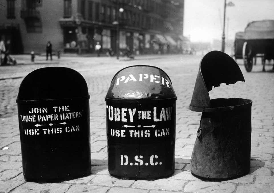 DSNY archival photo: Department of Street Cleaning litter cans