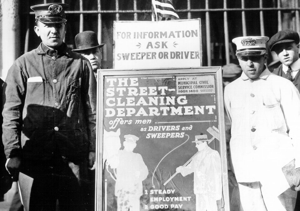 DSNY archival photo: Department of Street Cleaning job recruitment