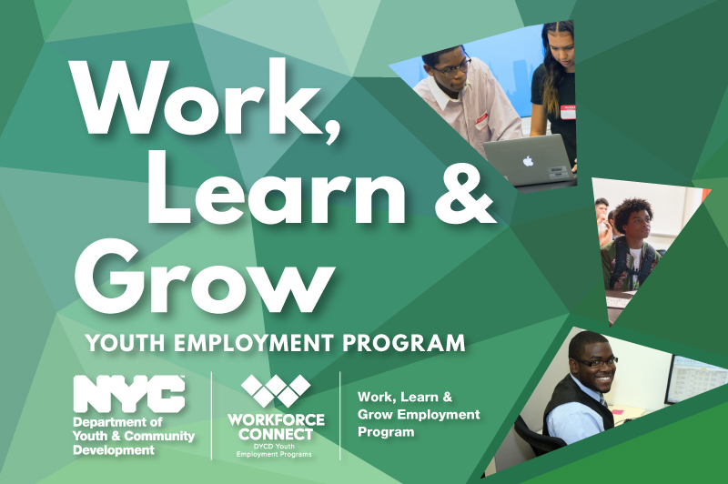 collage of paricipants w/ program name in white lettering (Work, Learn & Grow Employment Program)