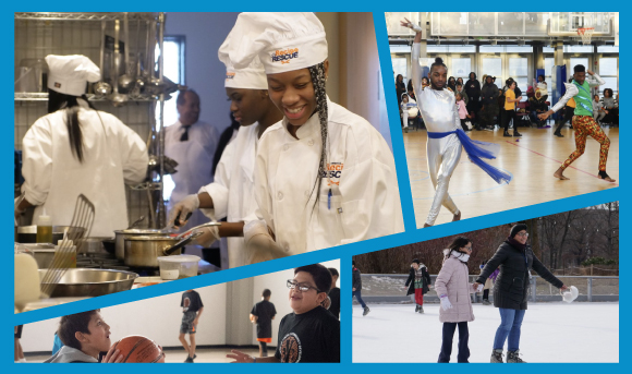 A photo collage featuring one picture from Recipe Rescue, Step It Up, Skate Day and DYCD Mentoring Basketball.