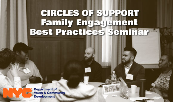 DYCD staff members talking during Circles of Support seminar.