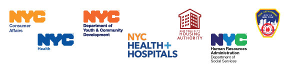 New York City logos; Consumer Affairs, Department of Health, DYCD, H+H, NYCHA, HRA, FDNY