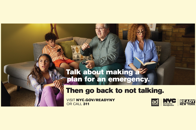 Advertisement for Ready New York brought to you by NYC Emergency Management and the Ad Council.