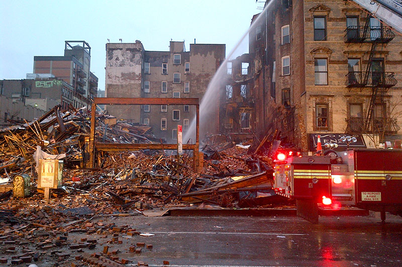 A building collapse featuring damage and debris