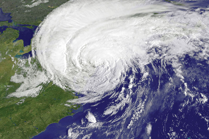 A satellite image of a hurricane making its way up the East Coast of the United States.