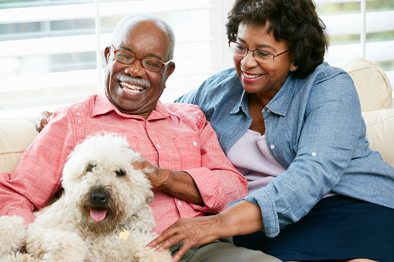 A smiling couple sitting on the couch with their dog.