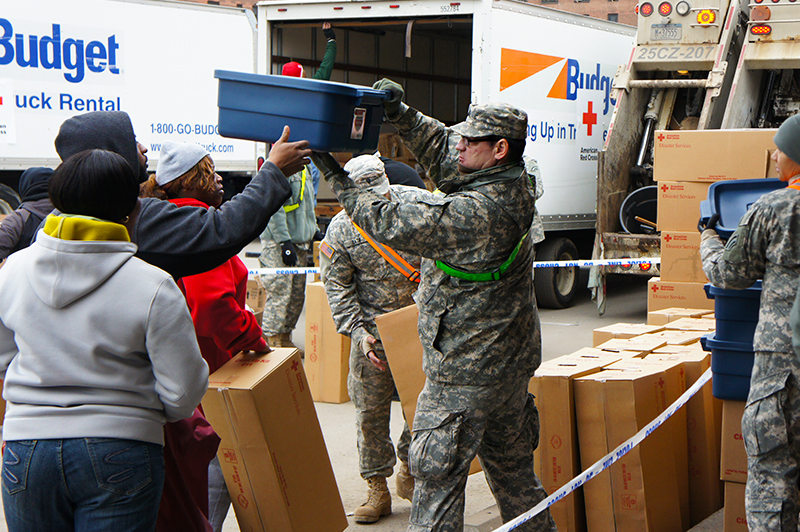 individuals receiving donations from National Guard