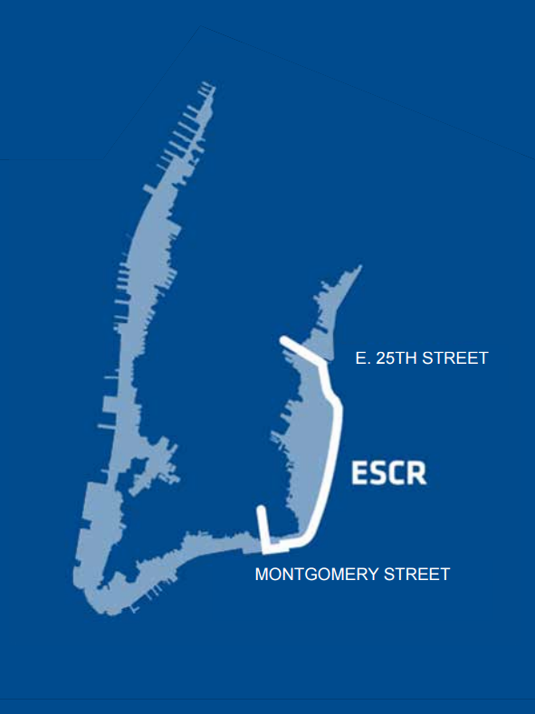 Graphic of a map depicting the scope of the ESCR project, a 2.2 mile stretch from East 25th Street to Montgomery Street
