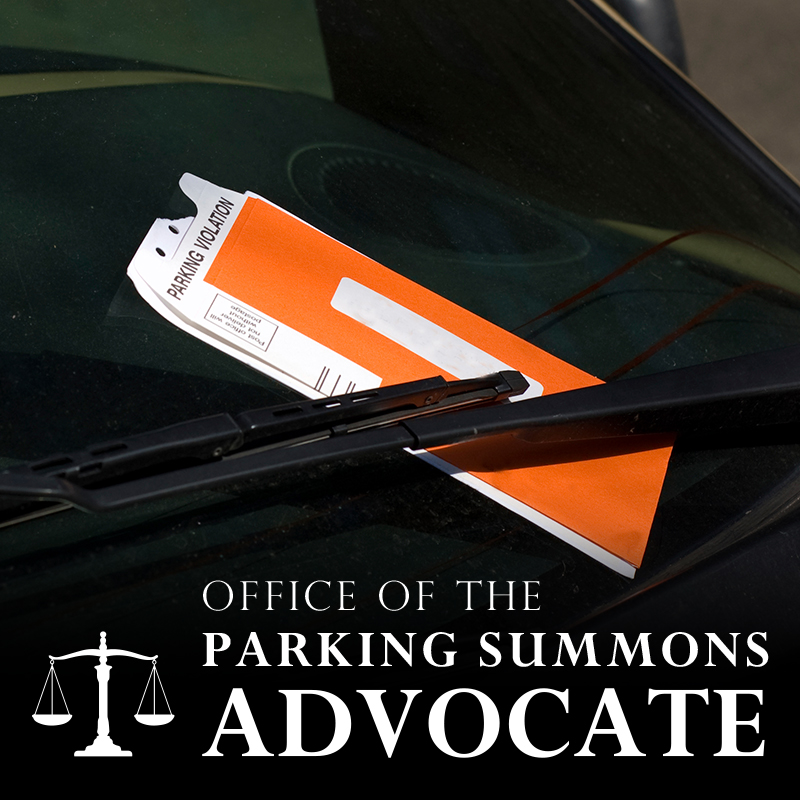 "Photo of a parking ticket on the windsheild of a car with the words ""Office of the Parking Summons Advocate"" at the bottom"