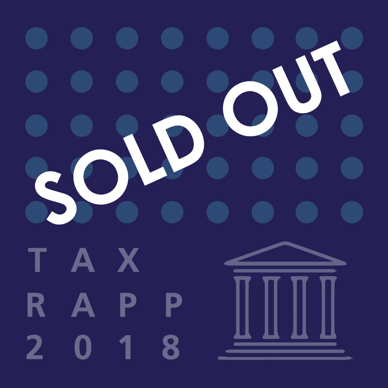"Navy blue graphic with colored dots and the words ""TaxRAPP 2018"" in white."
