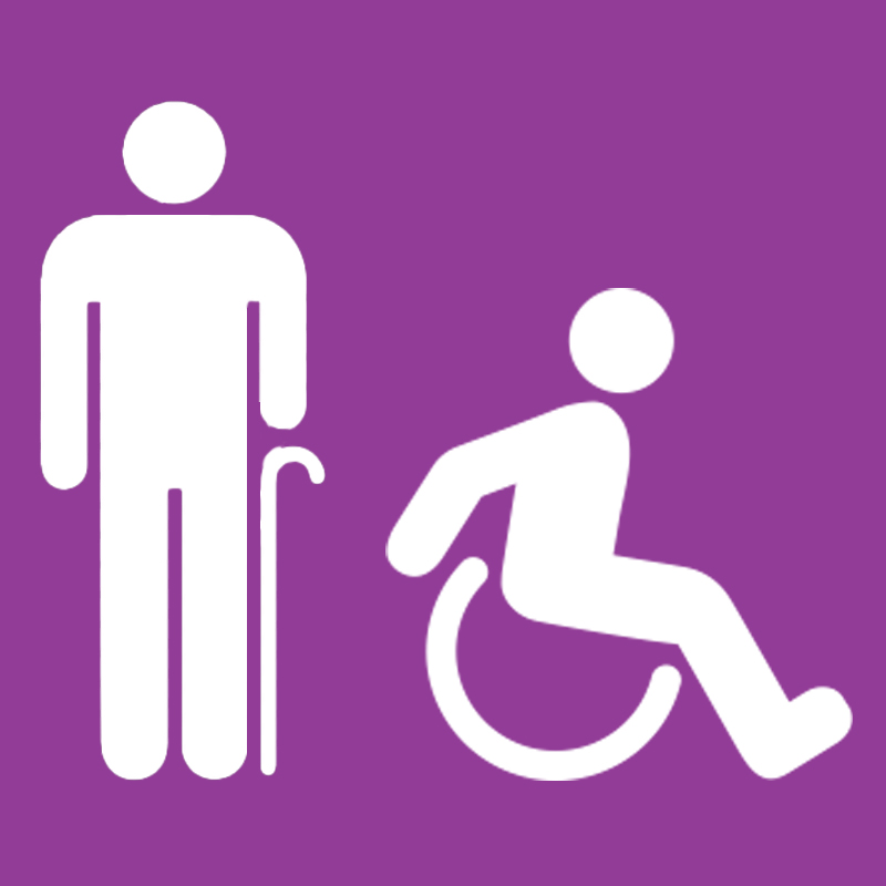 Graphic showing icons of a senor person with a cane and a person in a wheelchair
