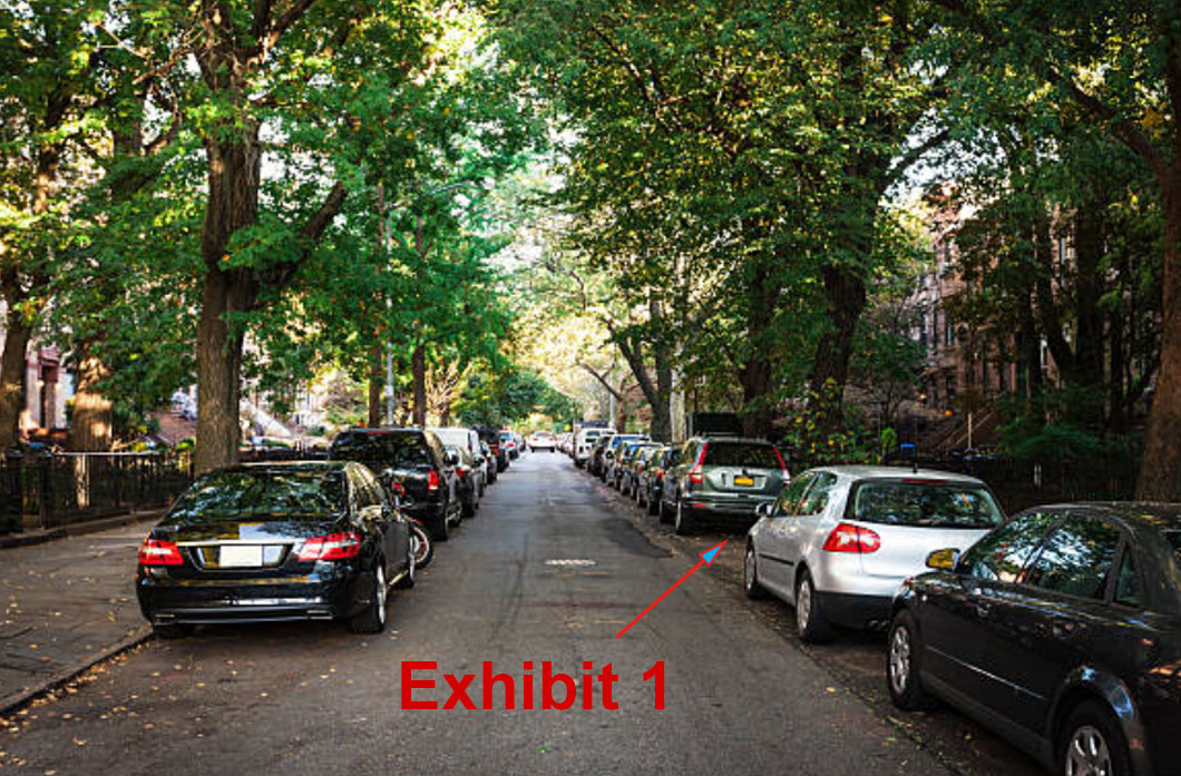 "A photo of a tree lined street with parked cars marked ""Exhibit 1"""