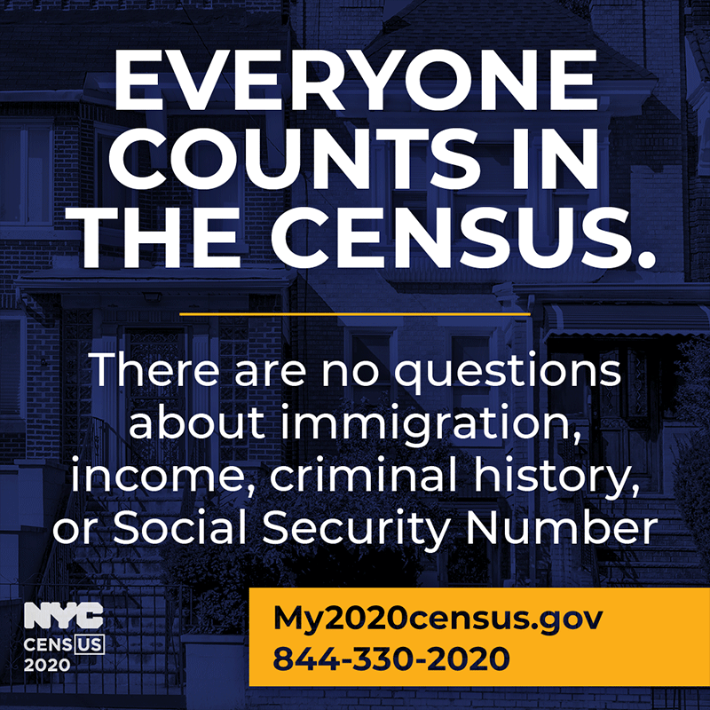 Blue graphic with white writing with words 'Everyone Counts in the Census'