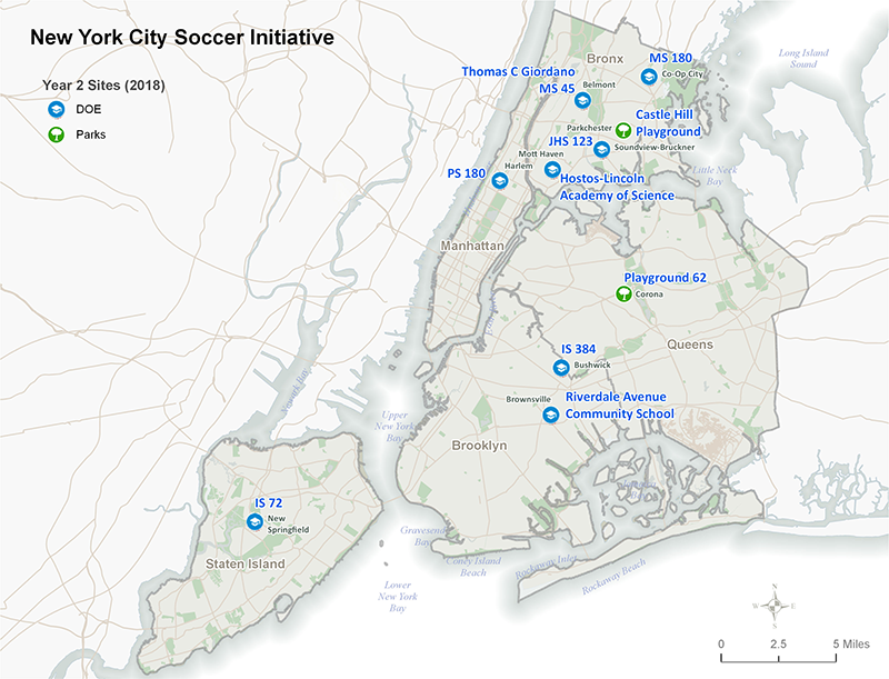 New York City Soccer Initiative 2018 Locations Map