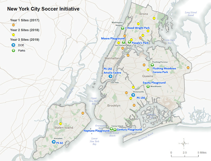 New York City Soccer Initiative 2019 Locations Map