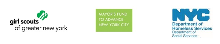 Partnership Logos: Girl Scouts, Mayor's Fund, and NYC Department of Homeless Services