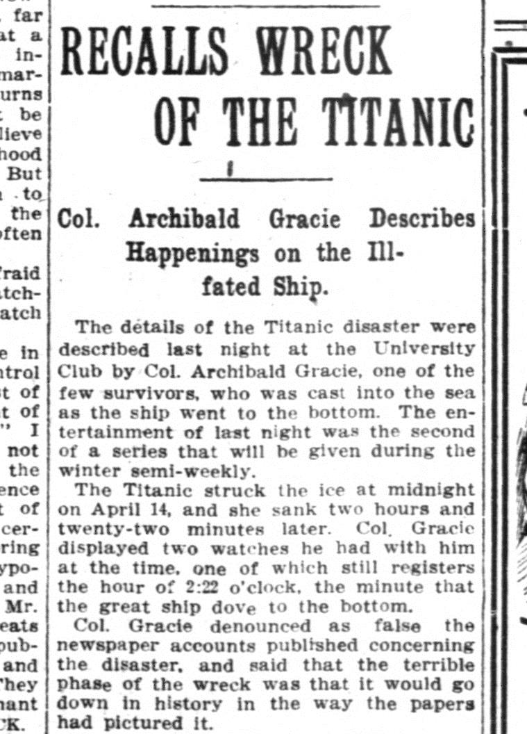 Article about the wrecking of the Titanic