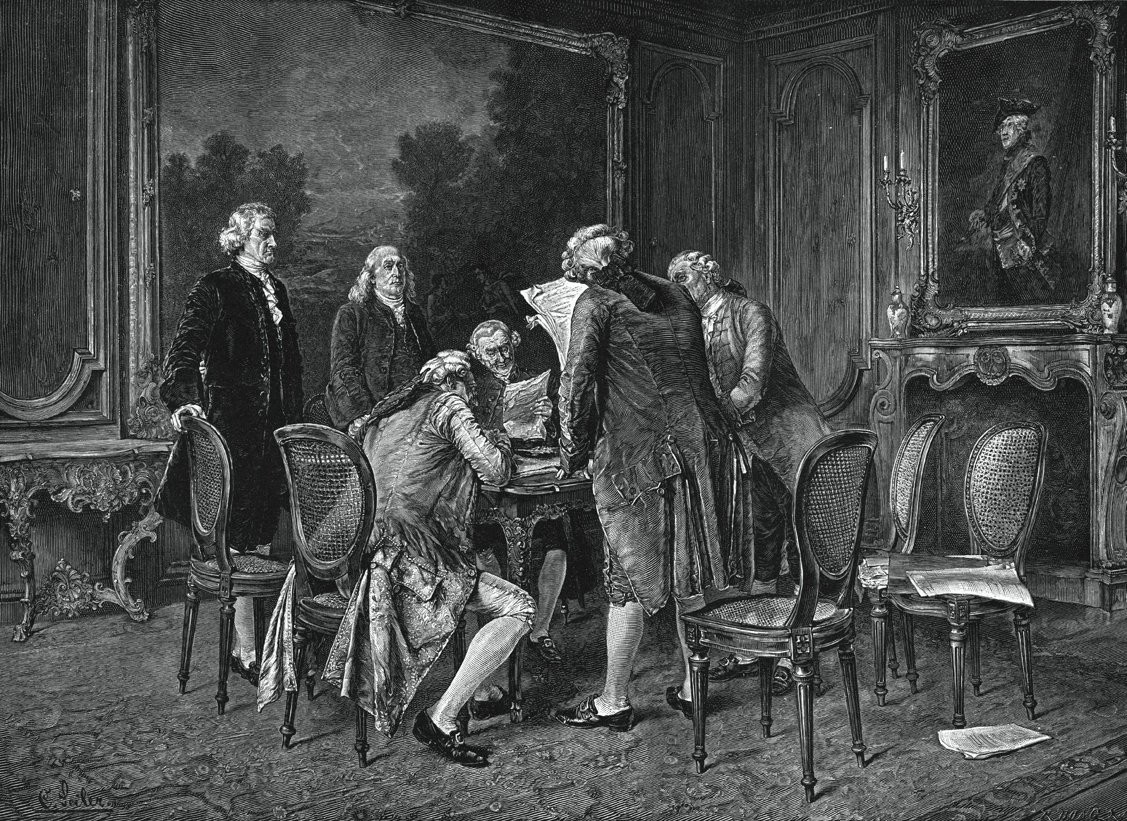 John Jay, Benjamin Franklin, Henry Laurens, and John Adams sign preliminary articles of peace