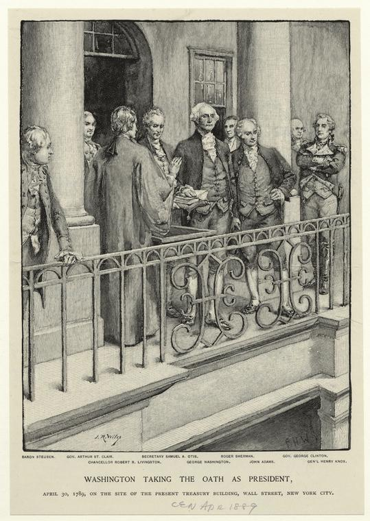 George Washington on the steps of Federal Hall on Wall Street